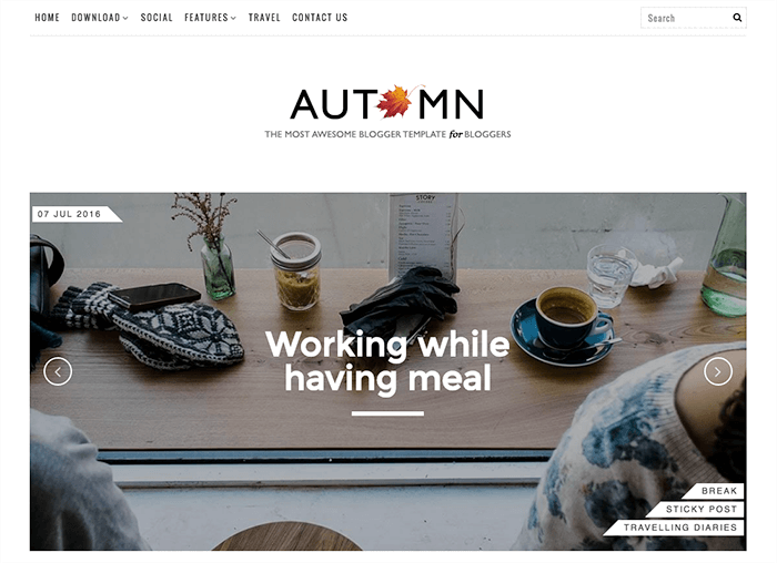 Responsive Blogger Template Autumn