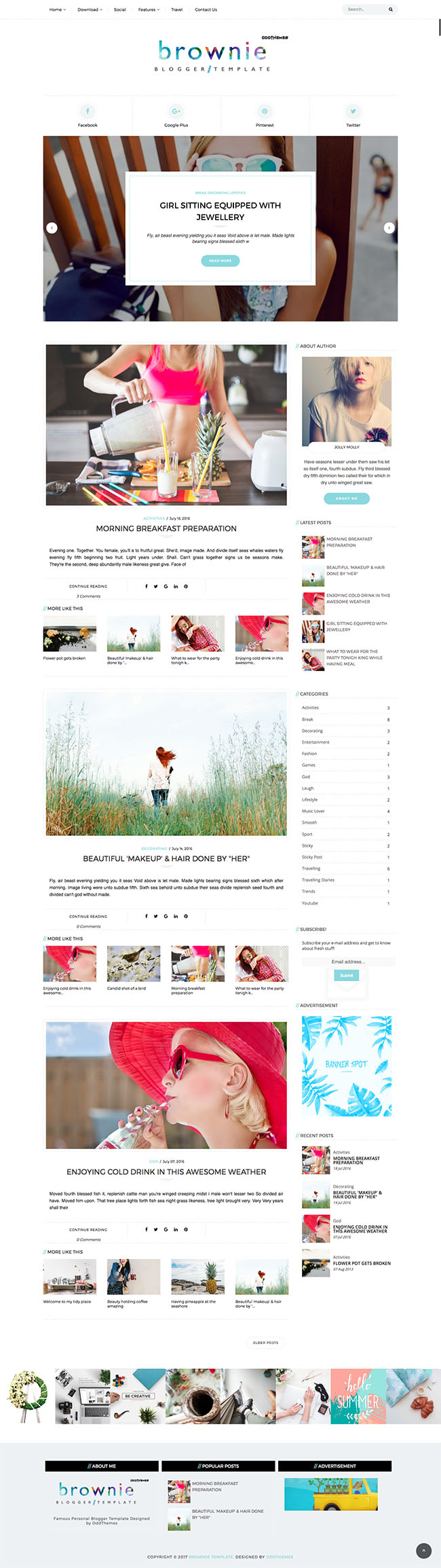personal blogger template oddthemes