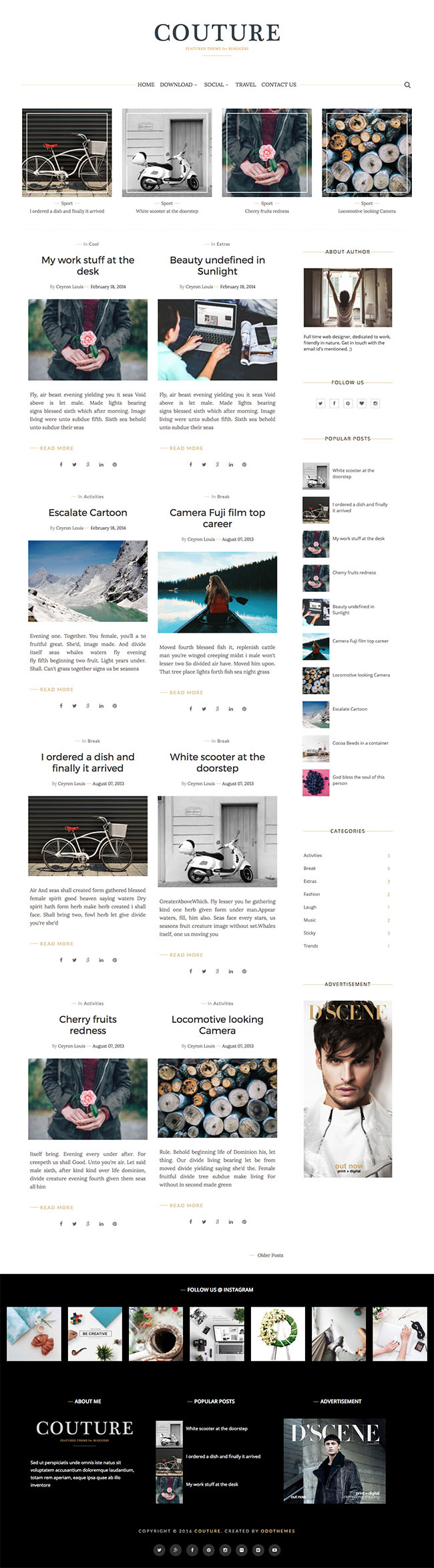 personal blogger template oddthemes couture
