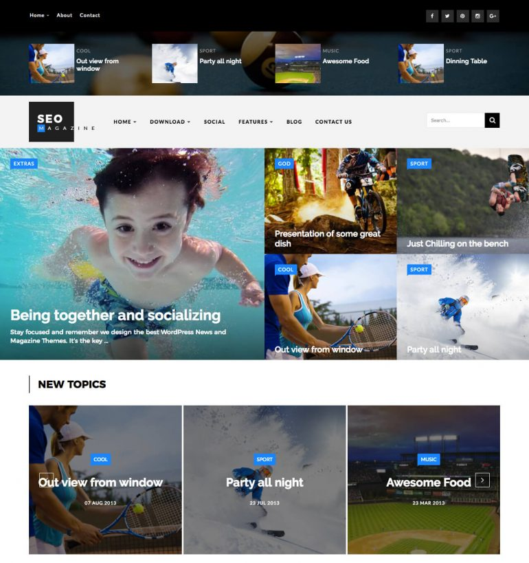 seo sports blogger template