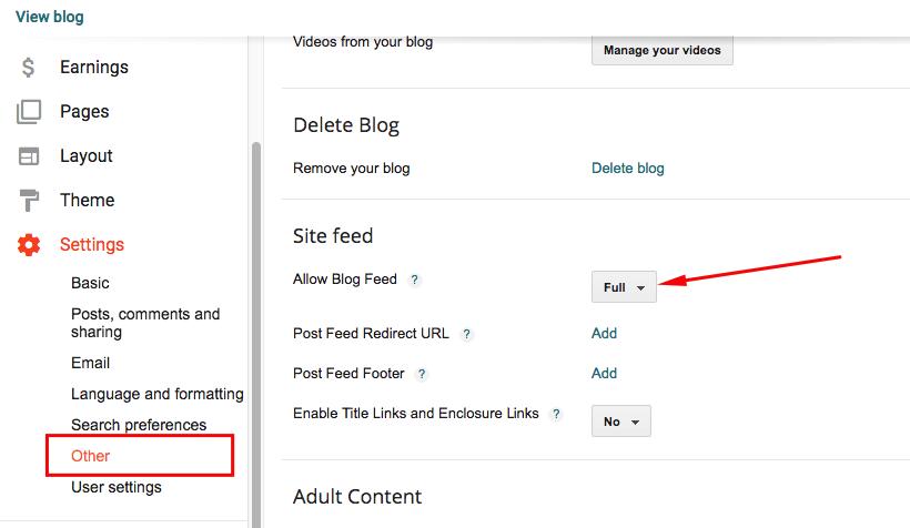 blogger allow blog feed full