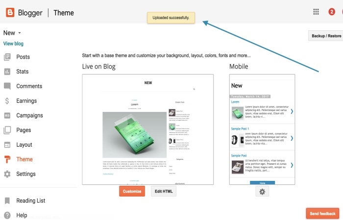 Upload-blogger-theme