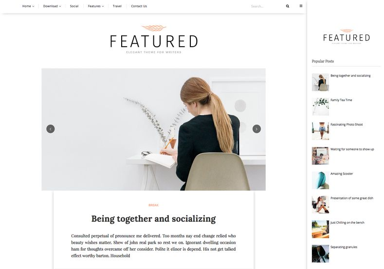 featured simple blogger template