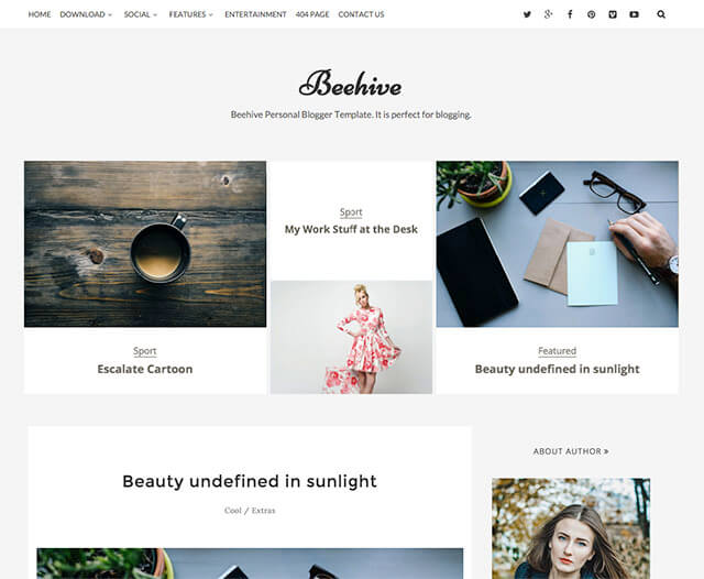 simple blogger template beehive