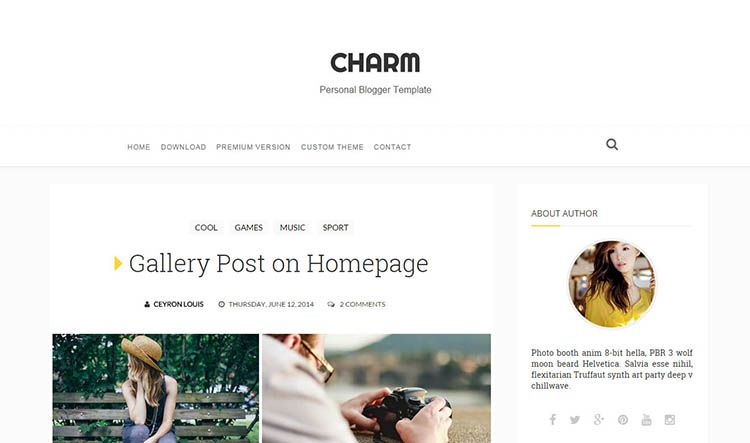 charm simple blogger template