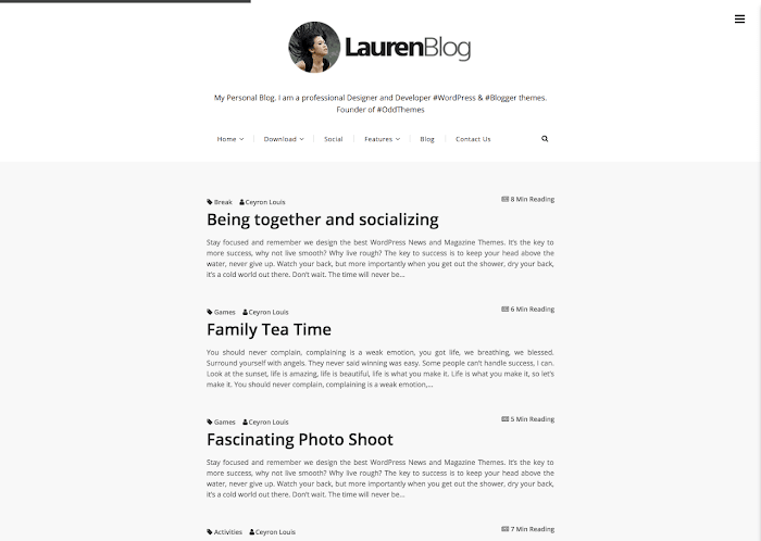 lauren simple blogger template