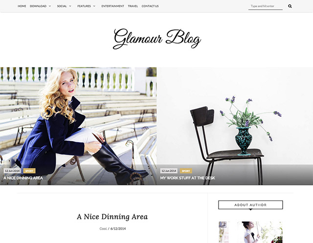 glamour simple blogger template