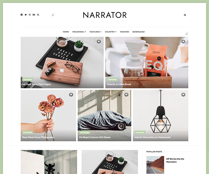 narrator simple blogger template