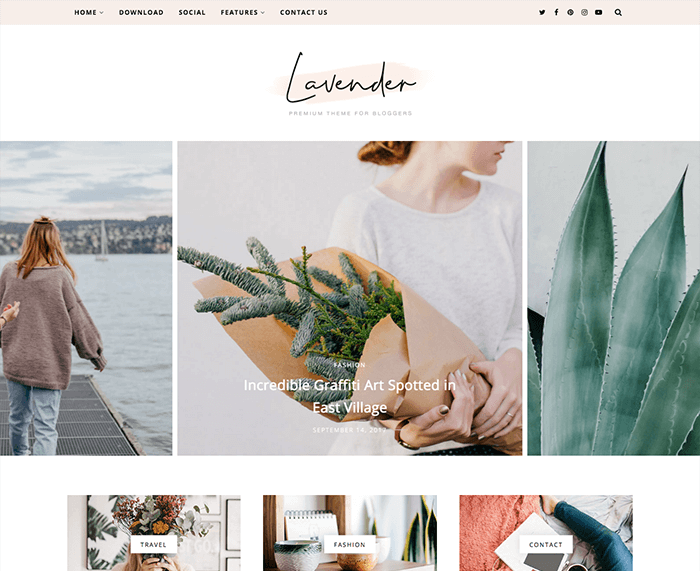 lavender fashion blogger template